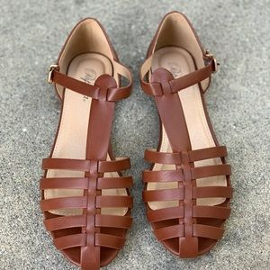 Paprika Women Gladiator Closed Toe Tan Sandals
